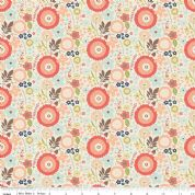 Riley Blake Woodland Spring - 4392 - Large Floral on Cream - C4992 Cream - Cotton Fabric